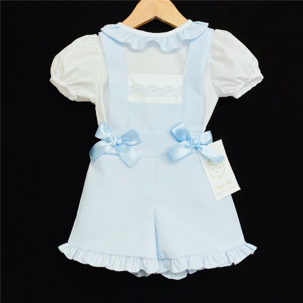 * Baby Girl Spanish Blue Waffle Dungaree Suit Frilly Collar Shirt